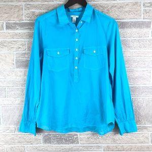 J. Crew Blue Button Ink Dip Popover Shirt 8